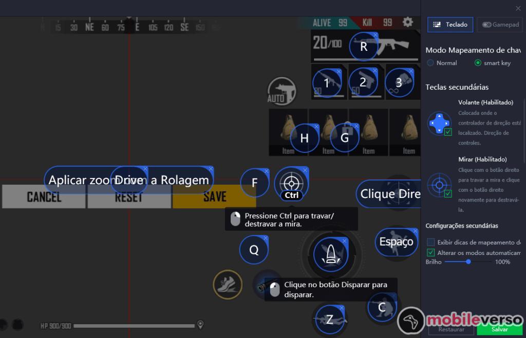 mapeamento de teclas free fire game loop