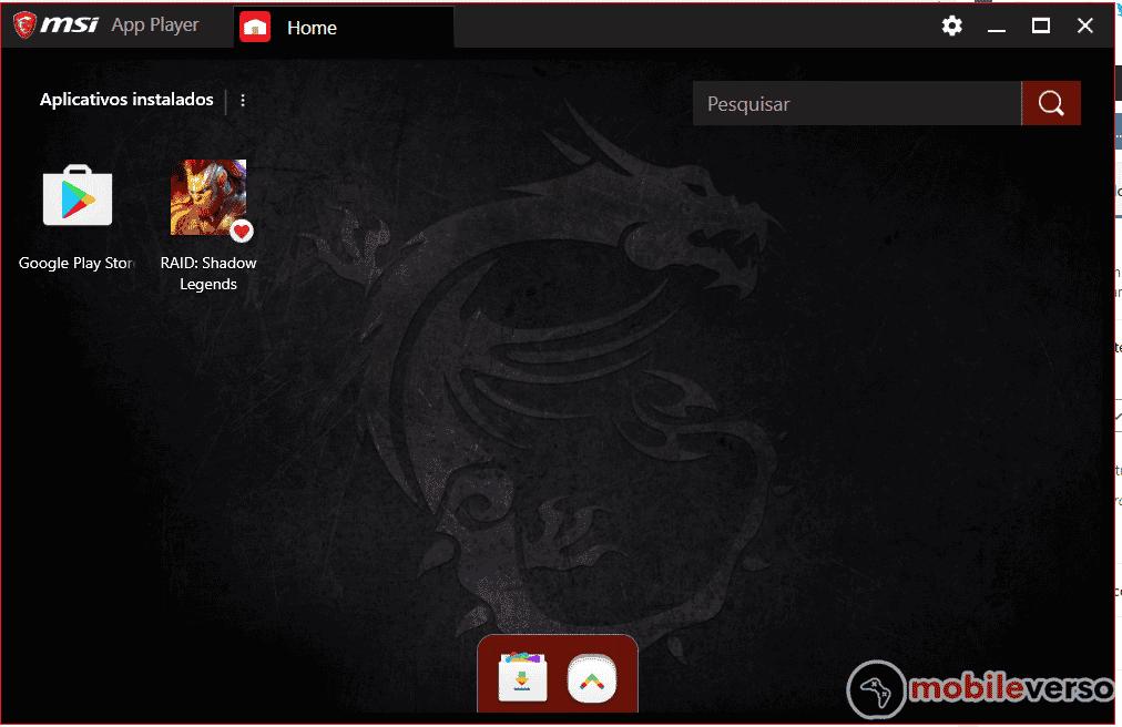 msi app player interface tela inicial