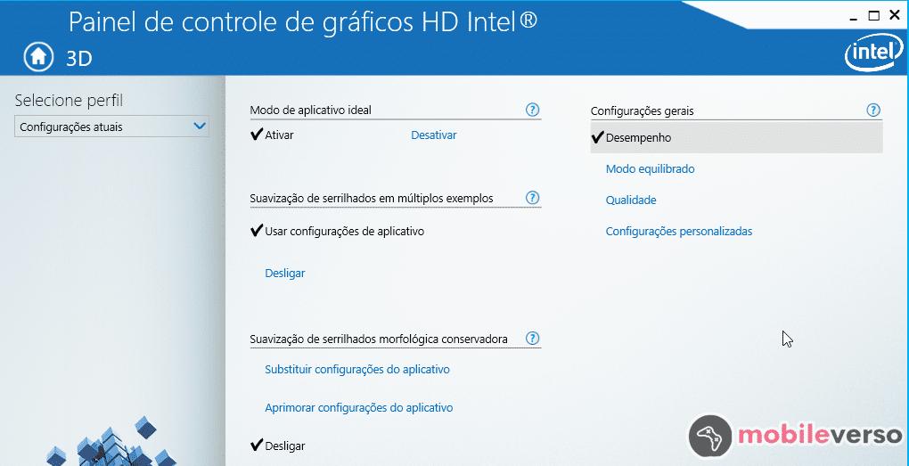 painel de ajuste de qualidade gráfica da Intel