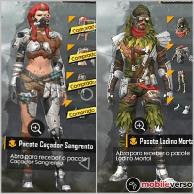 Skins do passe de elite Caçadores Natos, da décima quarta temporada do Free Fire