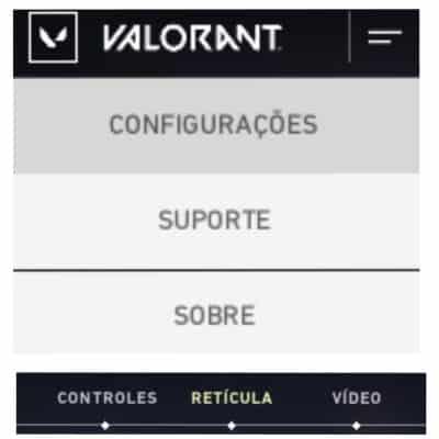 Configurações para mudar a mira e crosshair no jogo Valorant