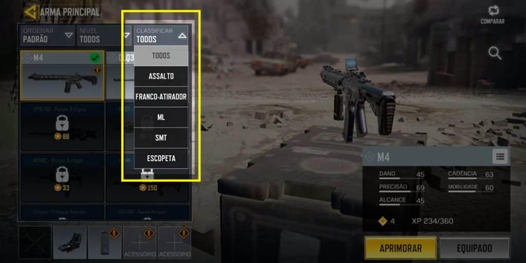 armas cod categorias Call of Duty Mobile
