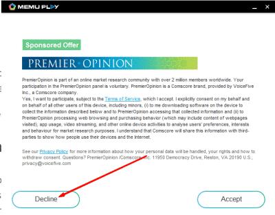 memu decline ads Emuladores