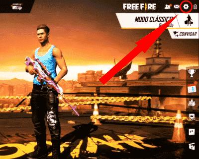 botão de configurações do free fire