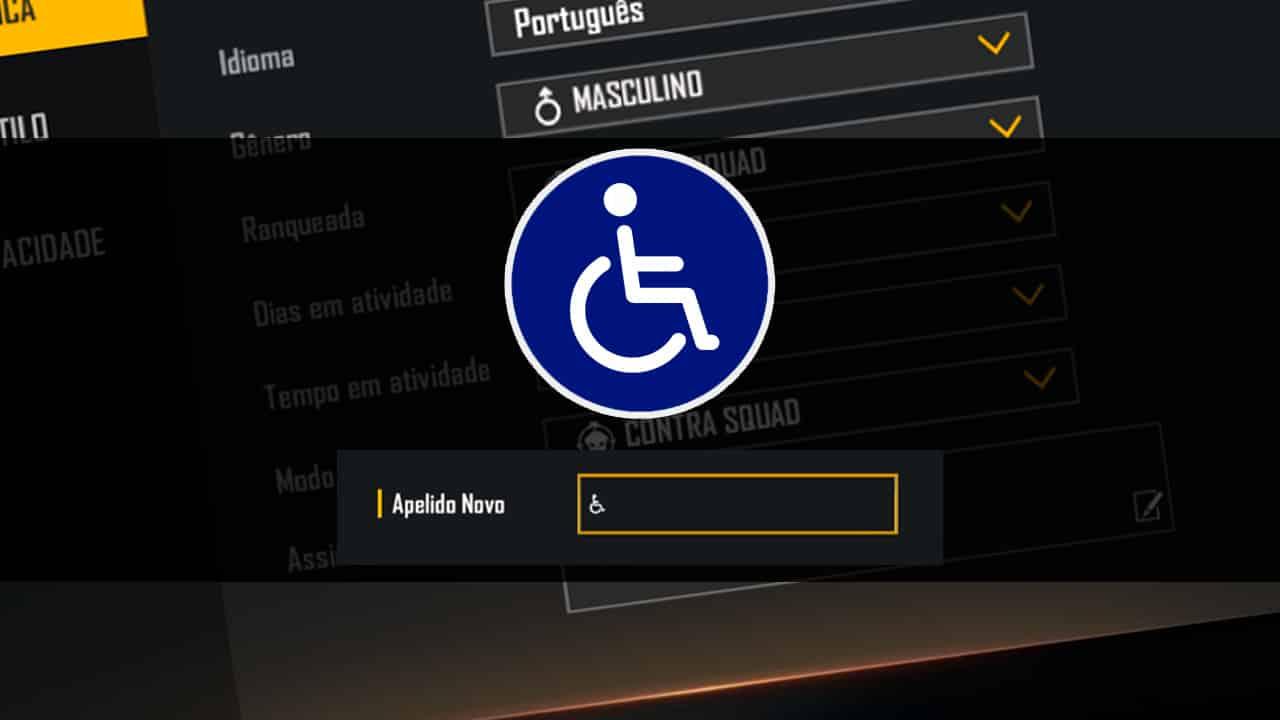 simbolo cadeirante para nick ff